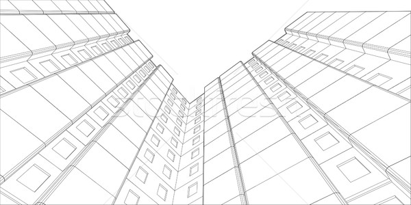 Черно-белые здании мнение нижний вверх вектора Сток-фото © cherezoff