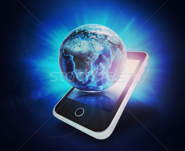 Earth model on mobile at right angle Stock photo © cherezoff