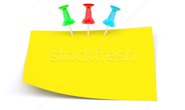 Yellow sticker with drawing pins Stock photo © cherezoff