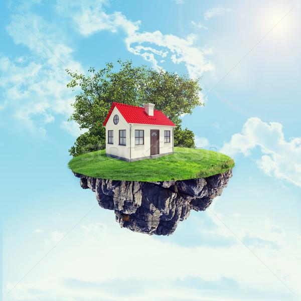 白い家 赤 屋根 島 空 雲 ストックフォト © cherezoff