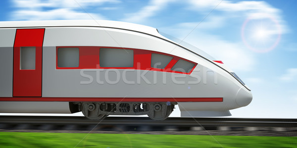 Train moving forward on rail-tracks, close-up view Stock photo © cherezoff