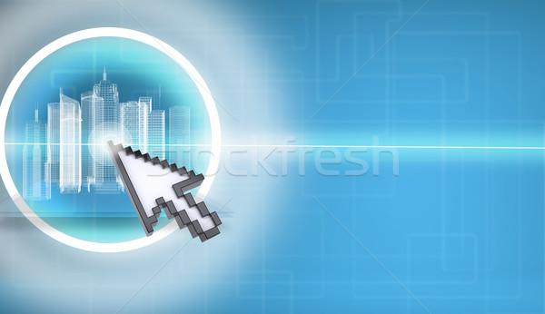 Cursor pressing on virtual city model Stock photo © cherezoff