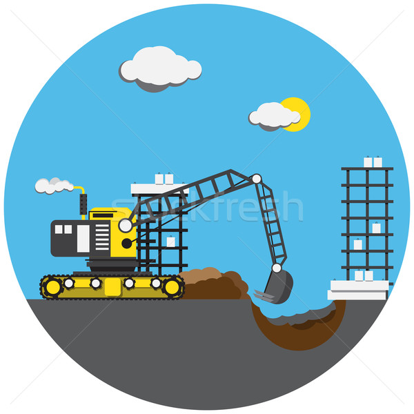Colorful picture of digger Stock photo © cherezoff