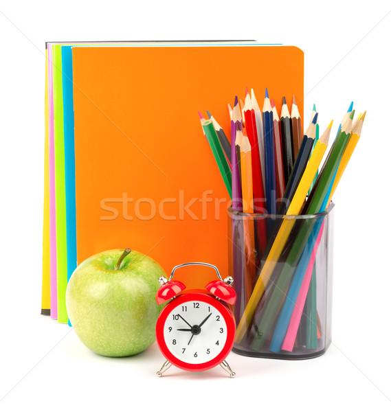 Frischen Apfel Wecker Bleistift Tasse Buntstifte Stock foto © cherezoff