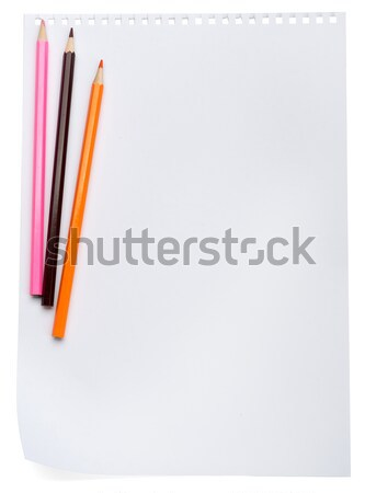 Piece of paper with crayons Stock photo © cherezoff