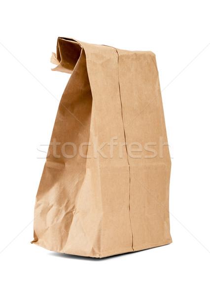 Riciclare carta marrone bag isolato bianco vista laterale Foto d'archivio © cherezoff