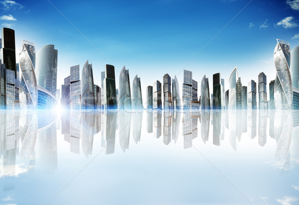 Cityscape with reflexion Stock photo © cherezoff