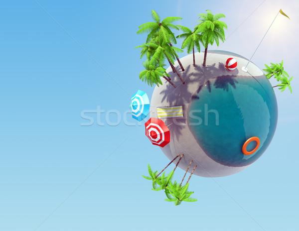 Terre monde palmiers piscine vacances Photo stock © cherezoff