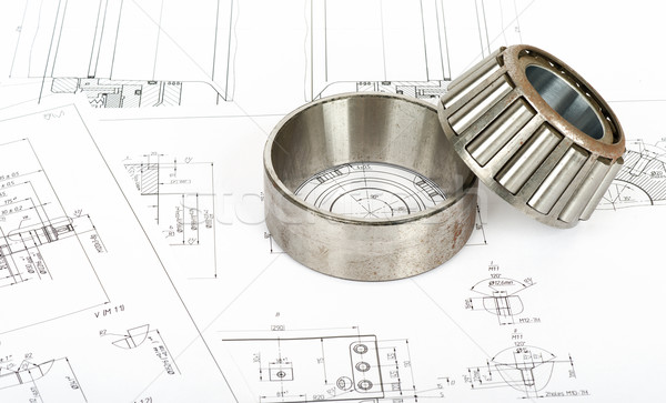Roller bearing on blueprints Stock photo © cherezoff