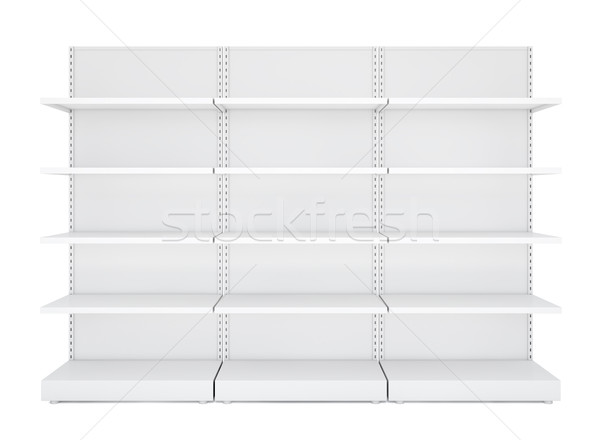 Three white blank empty retail shelves Stock photo © cherezoff