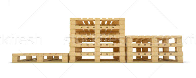 Winner pedestal of wooden pallet. Isolated Stock photo © cherezoff