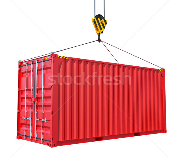 Cargo container with hook isolated on white Stock photo © cherezoff