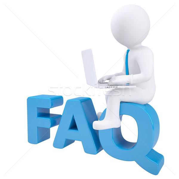 3D biały człowiek laptop posiedzenia słowo faq Zdjęcia stock © cherezoff