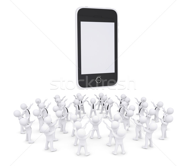Group of white people worshiping smartphone Stock photo © cherezoff