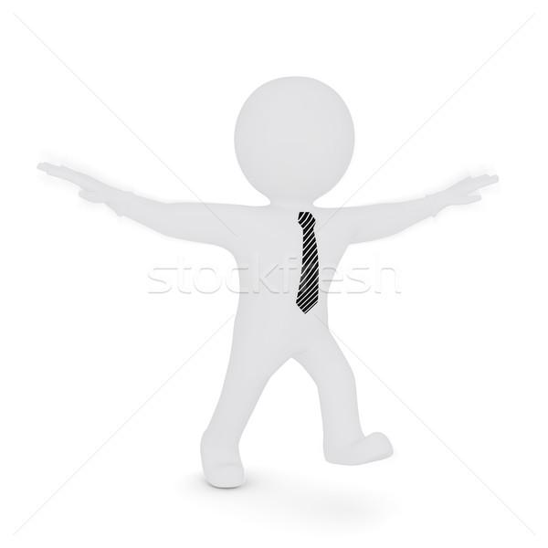 Blanke man armen zoals vogel geïsoleerd Stockfoto © cherezoff