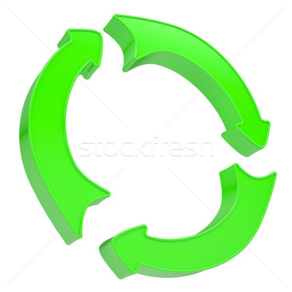 Three green arrows rotating around Stock photo © cherezoff