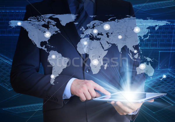 Man in suit, world map and contacts Stock photo © cherezoff
