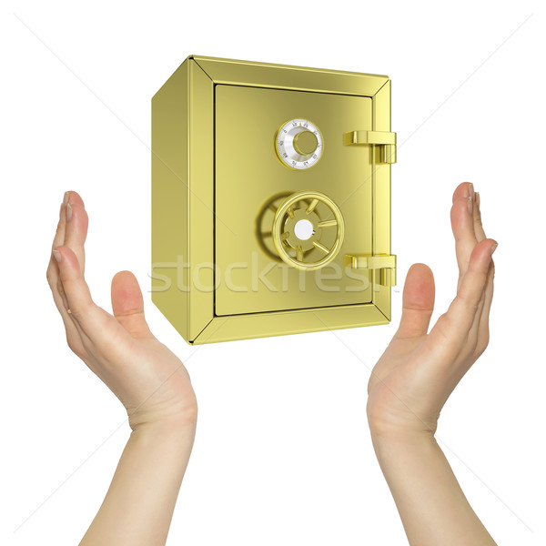 Hands holding gold safe Stock photo © cherezoff