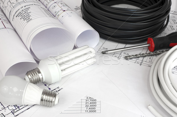 Electrical cable and bulbs on the drawings Stock photo © cherezoff