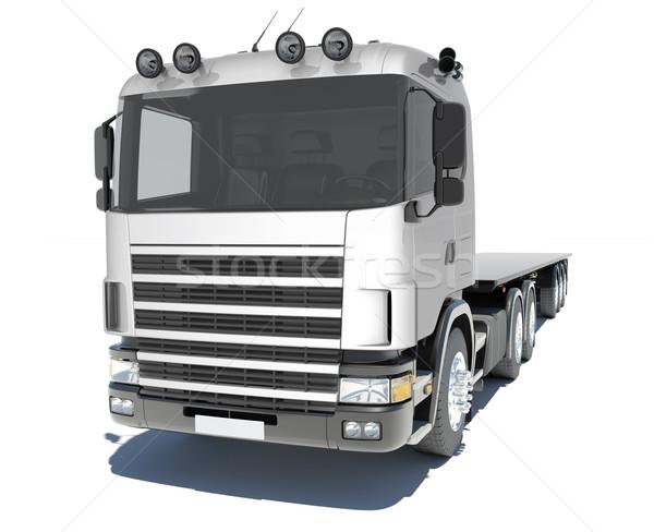 Teherautó nyerges pótkocsi vágány izolált render fehér Stock fotó © cherezoff