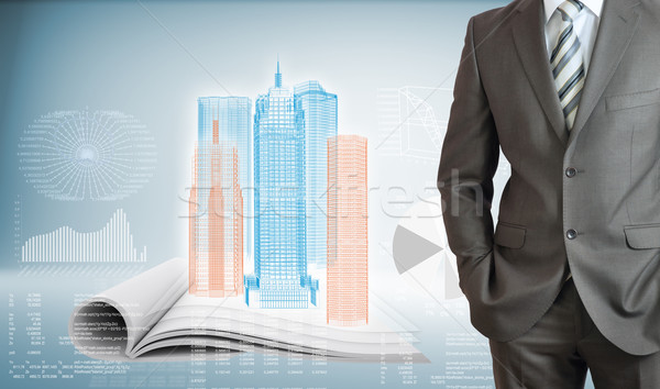 Businessman with high-tech skyscrapers and graphs Stock photo © cherezoff