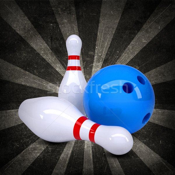 Bowling ball breaks standing pins. Grunge style Stock photo © cherezoff