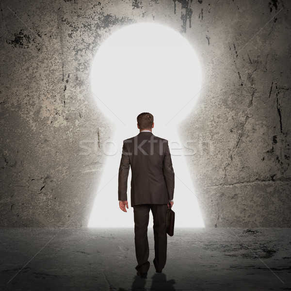ビジネスマン ブリーフケース ドア フォーム 前方後円墳 スーツ ストックフォト © cherezoff