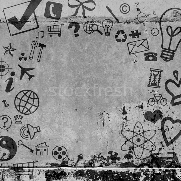 Stok fotoğraf: Sosyal · simgeler · beton · zemin · doku