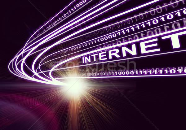 Folyam fény számjegyek szó internet sötét Stock fotó © cherezoff
