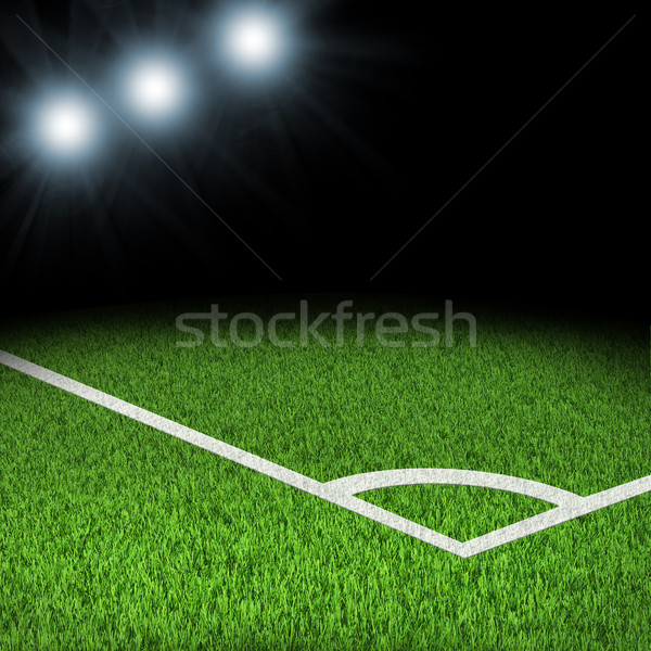 Right corner of stadium with bright spotlights Stock photo © cherezoff
