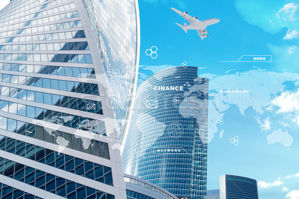 High-rise buildings with graphs Stock photo © cherezoff