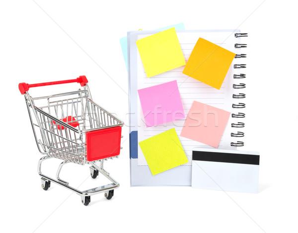 Warenkorb Kreditkarte Schönschreibheft isoliert weiß Papier Stock foto © cherezoff