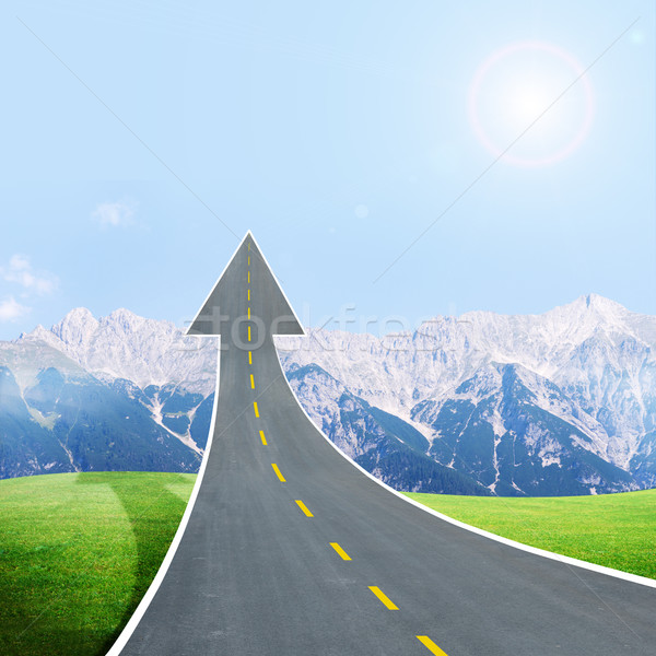 Roadway going up as an arrow in blue sky Stock photo © cherezoff