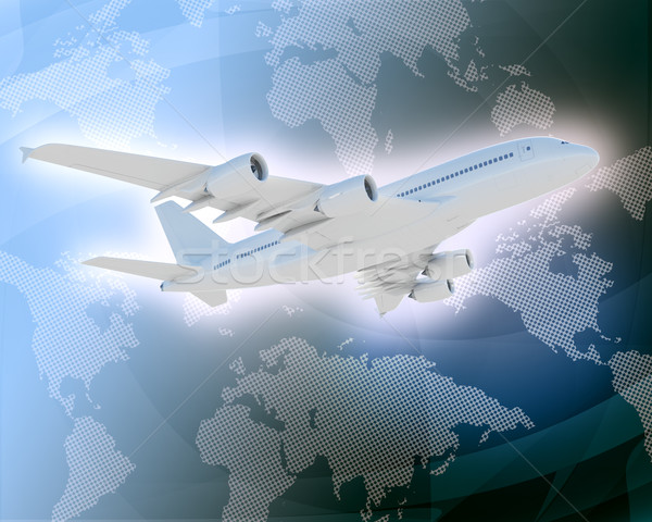 Jet with world map  Stock photo © cherezoff
