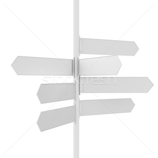Empty white road direction pointer Stock photo © cherezoff