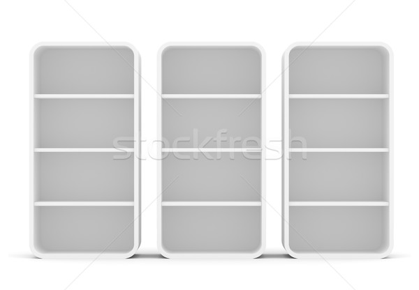 Three empty rotated retail shelves. Front view Stock photo © cherezoff