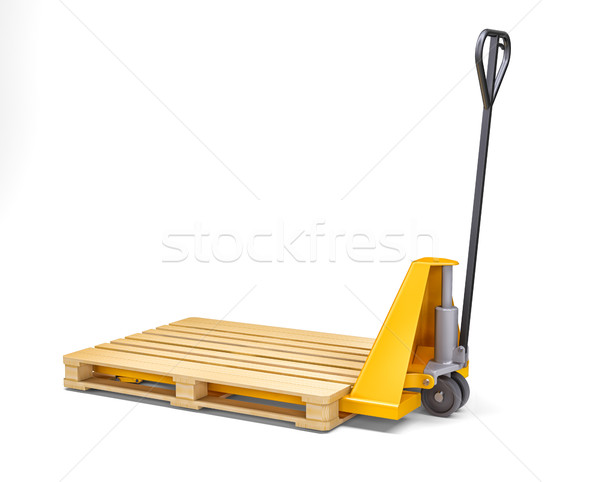Yellow pallet jack. Isolated on white Stock photo © cherezoff
