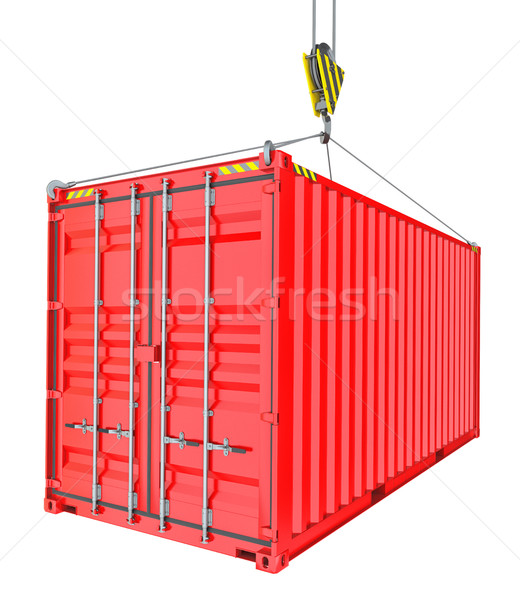 Red Cargo Container Hoisted By Hook Stock photo © cherezoff