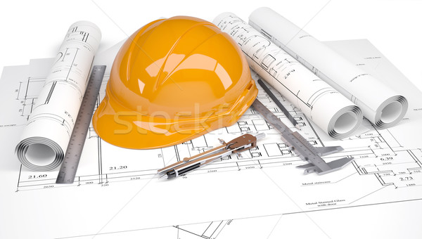 Orange construction helmet on the architectural drawings with engineering tools Stock photo © cherezoff