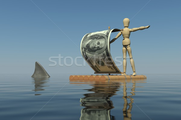 The wooden man on a raft with a sail from a dollar bill. Shark fin is near the raft Stock photo © cherezoff
