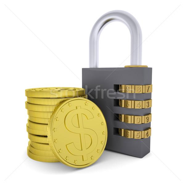 Golden Dollars and combination lock Stock photo © cherezoff