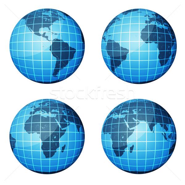 Mondo buio blu continenti Ocean quattro Foto d'archivio © cherezoff