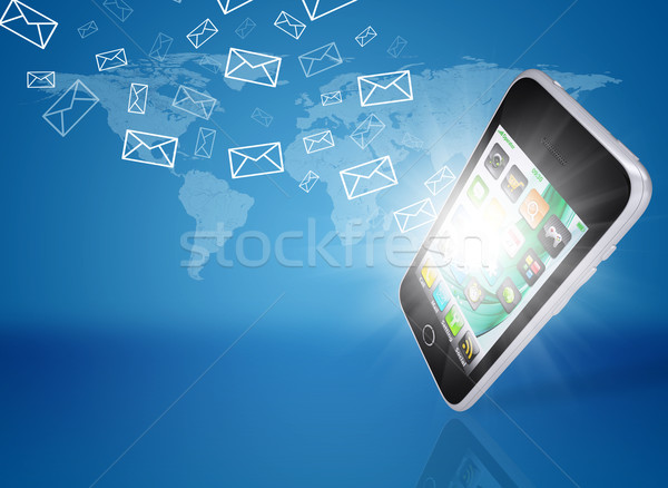 Emails fly out of smartphone screen Stock photo © cherezoff