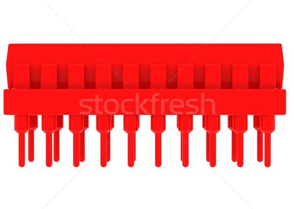 Vermelho microchip isolado tornar branco tecnologia Foto stock © cherezoff