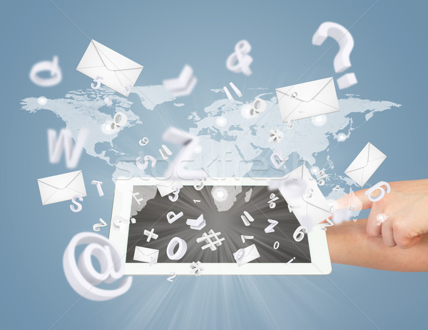 Hand, tablet pc, envelopes and letters Stock photo © cherezoff