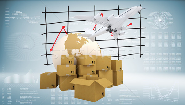 Earth, cardboard boxes and airplane Stock photo © cherezoff
