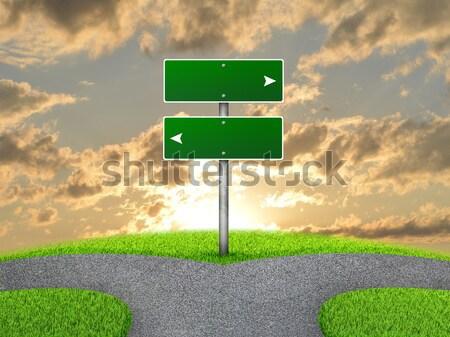 дорожный знак серый природы пейзаж Сток-фото © cherezoff