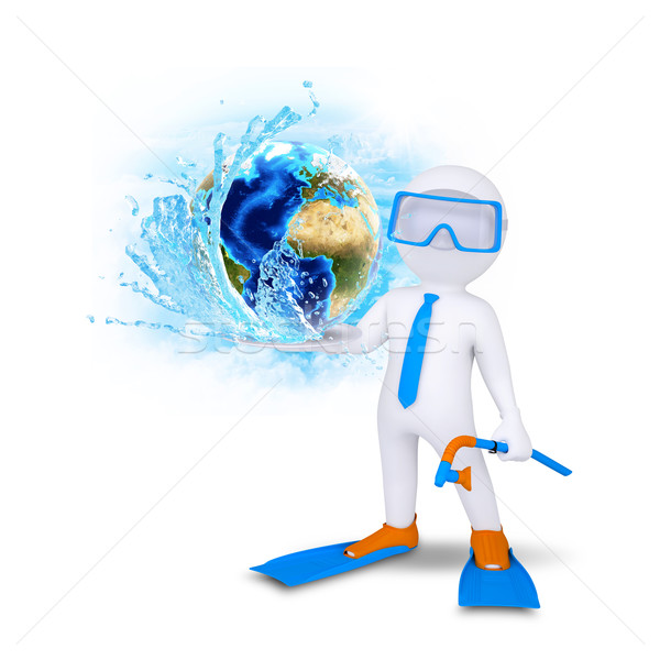 3d diver hold Earth with water splash Stock photo © cherezoff