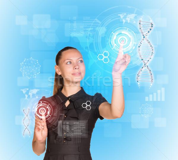 Schönen Geschäftsfrau Kleid lächelnd Finger Modell Stock foto © cherezoff