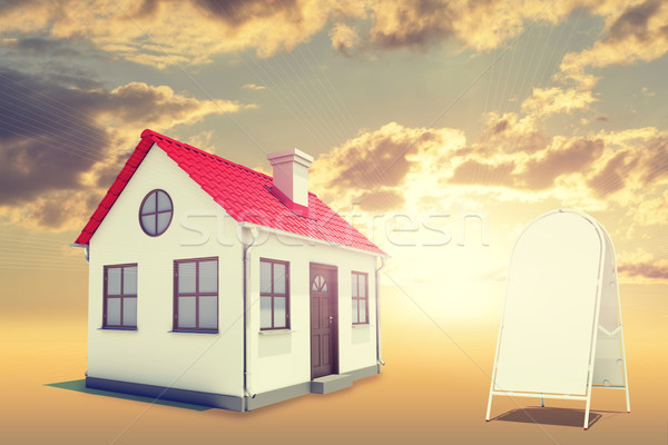 White house with red roof, brown door, sidewalk sign and chimney. Background sunset Stock photo © cherezoff